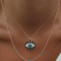 Vintage Fashion Evil Eye Necklace Pendant Clavicle Chain Sta...