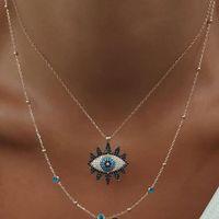 Vintage Moda Evil Eye Necklace Collana Clavice Catena Dichiarazione Long Collana Donne Accessory Collares