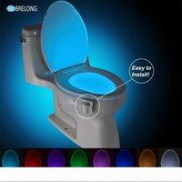 Brelong Toilet Night Light LED Lâmpada Smart Banheiro Humano Movimento Humano Ativado PIR 8 Cores Automático RGB Rumbo Para Luzes de Banheira