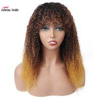 IShow brasileña 1b / 4/27 Ombre rizado rizado pelucas de pelo humano con Bangs rizado peruano Ninguno de encaje pelucas india de Malasia para las mujeres Negro