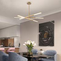 Nordic подвеска роскошь свет гостиной люстра просто творческая личность линия кулон светильник спальня столовая комната вращающуюся висит лампа