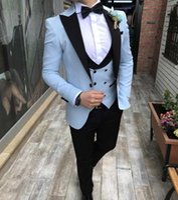 Abiti da uomo Blazer Blazer Sky Blue Men Tuxedo 3 Piece Custom Made Terno Slim fit Groom Garofano da uomo da sposa abito masculino Giacca + Pant + Gilet