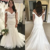 2020 Modest Lace Mermaid Wedding Dresses Off The Shoulder Ap...