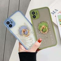 Gemalte Blumen-Telefon-Kasten-Silikon-Abdeckung für iphone 11 Pro 7 8 Plus 6 6s XS Max XR Diamant-Telefonkasten mit Ring