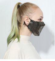 Lantejoula algodão Boca Máscara protectora da Veil Decoração Clube Máscara Máscara Glitter face Partido Tampa Bling Bling Gold Dust