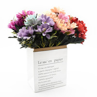 10heads / 1bundle soie Daisy Mariée bouquet de Noël Accueil mariage Nouvel An Décoration Plantes Faux tournesol Fleurs artificielles