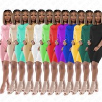 Mulheres Two Piece Outfits Plain o Sólidos Neck Treino T Camisa e ternos Shorts Sportswear DIY Summer Beach Sports 12 cores D71403