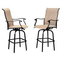 와코 2pcs 회전 바 의자, 등받이가있는 금속, 야외 현대적인 모든 날씨 Teslin 천으로 철제 프레임 커피 의자 파티오 데크 잔디밭 정원 펍 - 블랙
