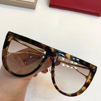 2020 جديد المعادن 0372 مصمم أزياء النظارات الشمسية UV400 مربع حزمة كاملة أنيقة الإناث كبيرة جودة نظارات إطار نموذج ريفو مرآة عدسة