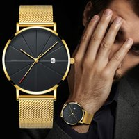Luxury Fashion Business Watches Men Super Slim Watches Stain...