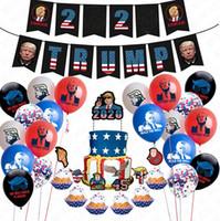 الرئيس ترامب 2020 أعلام مطاط النثار بالونات 24PCS / مجموعة البوق عيد ميلاد الحزب سحب العلم سلسلة كعكة بطاقات Accessries D72202
