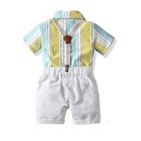 Sommerbabyklagen beiläufige Kindklagen Baumwollhochzeits Jungen Kleidungssatzstreifenhemd + Straps Shorts 2pcs / set Kleidung Jungen