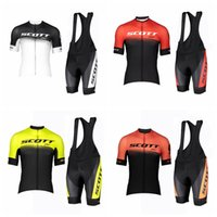 SCOTT TEAM Mens Quick Dry ciclismo set Maglia manica corta Salopette traspirante all'aperto vestiti in mountain bike Ropa Ciclismo S073117