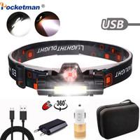 5000lm Scheinwerfer bewegliche helle Most Powerful LED USB aufladbare XPE + COB eingebaute Batterie Wasserdichte Kopflampe Stirnlampe