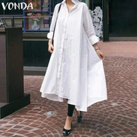 VONDA Women Sundress White Sexy Dress Casual Loose Turn-down Collar Asymmetrical Shirt Dress Female Split Hem Party Vestidos 5XL
