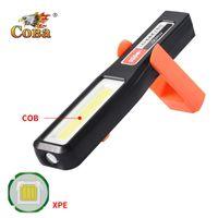 Tragbare Laternen COBA LED Arbeitsleuchte Wiederaufladbare USB-Batterie-Batterie-COB-XPE durch Kunststoffhaken Magnetische verformbare wasserdichte lampe