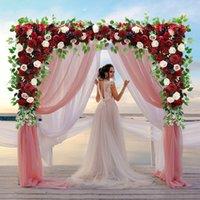 Пользовательские бордовые вино красные искусственные цветочные стены гирлянды столешницы центральный стол