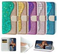 Bling del brillo del láser híbrido Monedero de cuero del tirón para el iPhone 11 Pro Max XS XR X 8 Samsung S10 Plus Nota 10 S20 Ultra