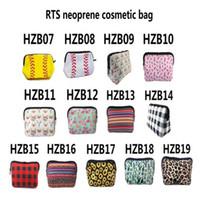 Saco de maquiagem de beisebol de girassol à prova d 'água macia neoprene cosmético bolsa de armazenamento zíper higiênico sacos de viagem sacos de viagem organizador DHB751