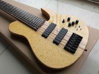 Neue benutzerdefinierte 7 Saiten Natürliche elektrische Bass Gitarre Ahornhals Thru Körper 24 Bünde Black Hardware China Made Siganture Bass