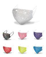 Bling Masque Mode féminine respirant anti-poussière réutilisable Lavable Coupe-vent Masques bouche diamant brille strass Summer Party Visage Couverture