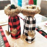 Rotweinflasche Abdeckung sackt Dekoration Pelz-Kragen-Weinflasche Hülsen-Rot-Wein-Beutel-Geschenk-Beutel Weihnachtstischdekoration Großhandel