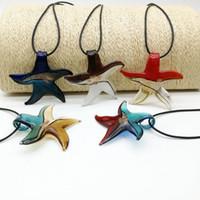 Livraison gratuite en gros Hot Fashion 5pcs Starfish Mix Couleur Argent Lampwork verre Collier pendentifs, Collier de mode