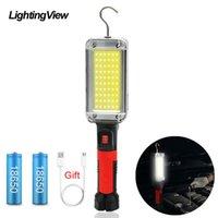 Travail LED COB portable Lumière torche lampe avec alimentation USB pince à crochet de charge par 18650 Lanterne magnétique pour réparation de voitures