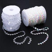 30m Düğün Dekorasyon Sekizgen Akrilik Kristal Boncuk Perde yanardöner Garland Strand Işıltılı Perdeler Parti Dekorasyon