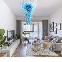 Lámpara de cristal azul grande para sala de estar sala de estar escalera colgante lámpara colgante europeo grande murano iluminación de cristal