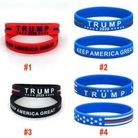 DHL 3-5 dias Donald Trump 2020 Pulseira Silicone Mantenha América Grande Pulseira US eleição geral Bangle macia Esporte Banda 2 estilos