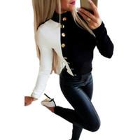 Damen Bluse Herbst-Winter-Pullover mit Stehkragen Tops Buttons Patchwork-Damen-Hemd der beiläufigen Frauen Blusen und Tops Büro Shirts