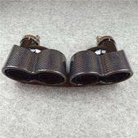 Paar siamesischer Doppelglanz schwarzer Edelstahl Auspuff-Schalldämpfer Endrohr Auto H-Stil glänzender Kohlenstoffauto-Back-Tipps