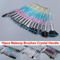 15pcs Renkli Makyaj Fırçalar Seti Kristal Fırça Yüz Göz Dudak Göz Farı Eyeliner Kaş Kirpik Kenar Kontrol Fırça Brochas Kozmetik Fırçalar
