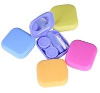 YENİ Mini Düz renk Kontakt Lensler Kılıf İle Ayna Plastik Kare Kasa Seti Kutu Makyaj Güzellik Araçları Aksesuarlar