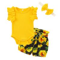 Abiti floreali del bambino infantile 3 colori ragazze Solid Baby Romper Bambino fiore stampato pantaloni elastici con fascia 3-18 m 060721