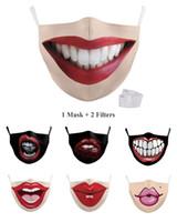 vendita calda riutilizzabile 3D Printing labbro maschere per il viso Bocca Maschera divertente antipolvere Maschera bocca sexy partito lavabile Maschera per il viso