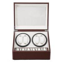Brauner Leder-Wickler 4 + 6 Rocker Automatische Wicklung Schiebedach Aufbewahrungsbox Watch-Display-Box