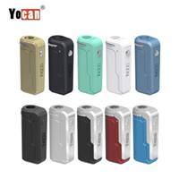 Vape 510 두꺼운 오일 카트리지 키트 가변 전압 예열 기능 조정 크기를 가진 1PC 정통 Yocan 유니 박스 모 오일 배터리