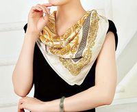 Mode Peinture à l'huile Foulard boussole d'or Foulard en soie Echarpes satin 90 Grand Foulard carré Femme