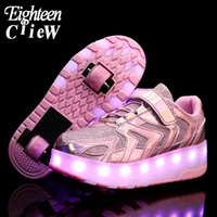 2020 New Luminous Sneakers Kids Glowing Sneakers with Wheels...