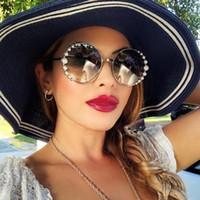 HBK 라운드 진주 선글라스 MODIS 2020 럭셔리 빈티지 여성 브랜드 디자이너 태양 안경 그라데이션 UV400를 feminino