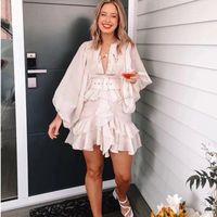 2020 새로운 여름 패션 여성 의류 라운드 넥 랜턴 슬리브 주름 주름 주름 싱글 브레스트 빈티지 드레스 + 벨트