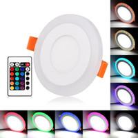 라운드 / 광장 RGB LED 패널 라이트 + 원격 제어 6w / 9w / 16w / 24W 최근 LED 천장 패널 조명 AC85-265V + 드라이버