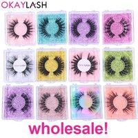 OKAYLASH Настройка логотипа Ресницы Оптовая 3D 5D Поддельный норка Связки Природа Поддельный глаз Lash Bulk Продажа волоконной Silk Lashes