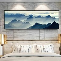 Moderne New Chinese Wall Art Paysage Montagnes Affiches Photo toile Peinture murale Art pour Salon Home Decor (Frame No)