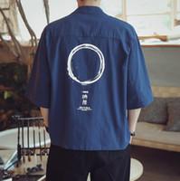 Verão vintage algodão linho quimono jaqueta para homens mais tamanho 5xl fino protetor solar cardigan quimono casaco meia manga outerwear