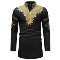 Ropa para Hombres africana tribal de Dashiki Imprimir Camisa tradicional ropa étnica africanos hombres Streetwear informal Chemise Homme 3XL