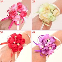 50pcs set Wedding Wrist Flower Bridal Prom Hand Simulation Flowers Bracelet Bridesmaid Sisters Wrist Corsage Decorative Flower TQQ BH2466