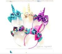 2020 Блеск Metallic Unicorn стяжка Девушка шифоновых цветы Hairband Для детей листьев цветка Unicorn Horn партия Аксессуары для волос WL231